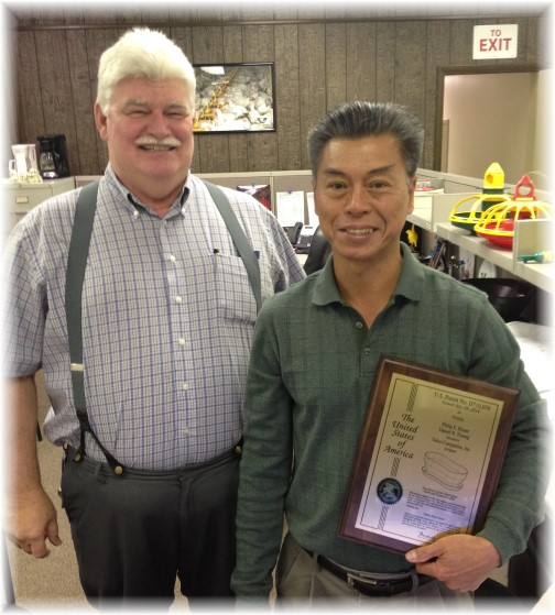 Daniel and Amos with patent plaque at Val-Co 11/13/14