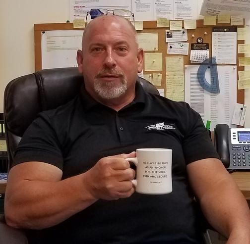 Phil Givler with coffee mug 6/27/19