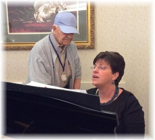Brooksyne playing piano along with Joe 1/26/14