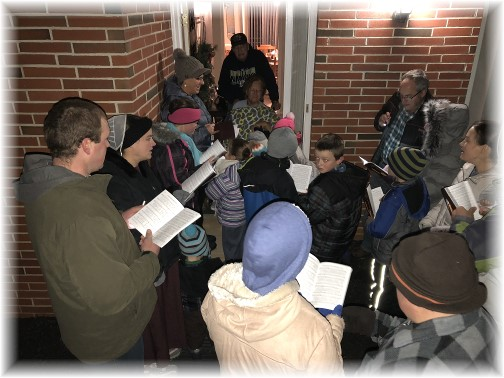 Tractor-drawn wagon Christmas caroling 12/16/17