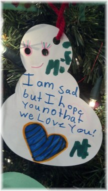 Ornament memorial to child killed in a car accident
