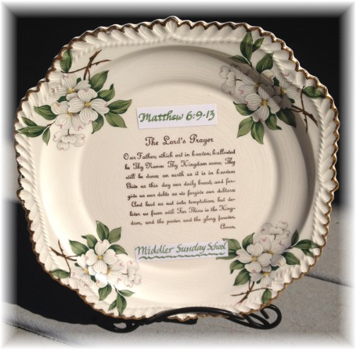 Lord's Prayer on plate