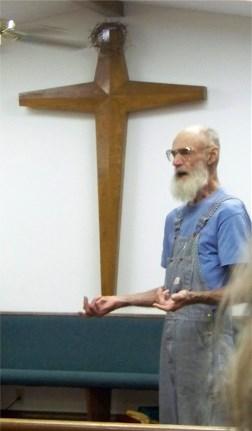 Testimony time in church service, Mountaintop Arkansas