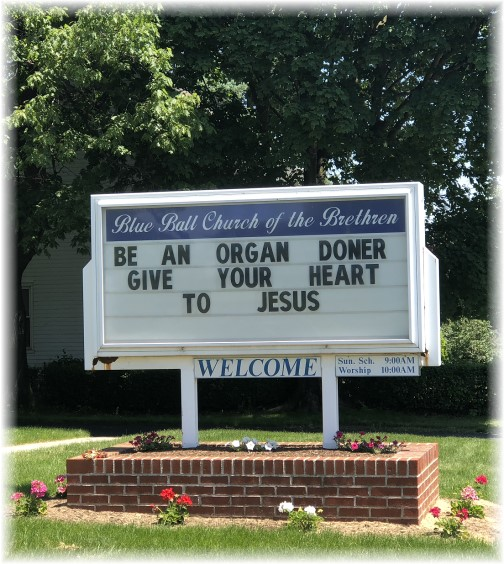 Church sign in Blue Ball, PA 5/24/18