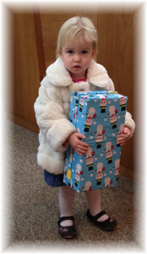 Bethany with Operation Christmas Child box collection 11/16/14