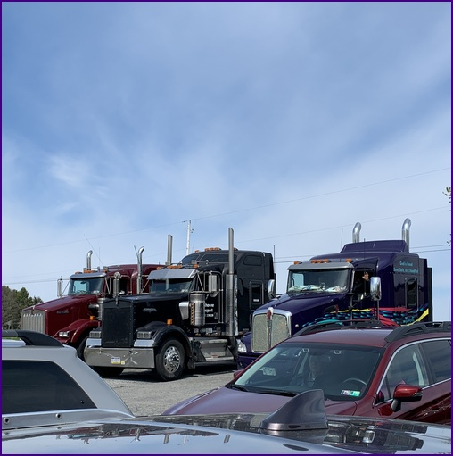 Trucks at drive-in church service 5/10/20