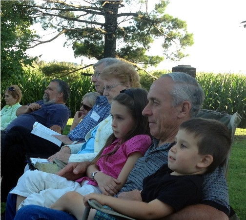 Grandpa Galen with grandchildren (8/24/14)
