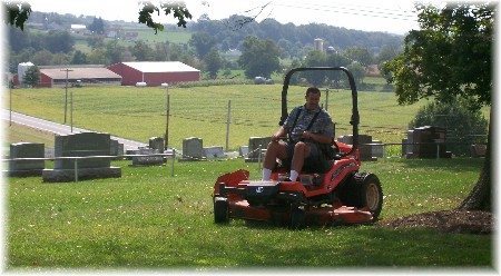 Mowing the church lawn