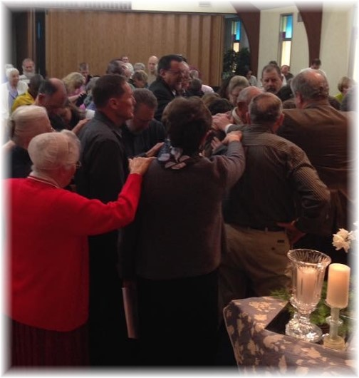 Praying for Shenks at Mount Pleasant 1/18/15