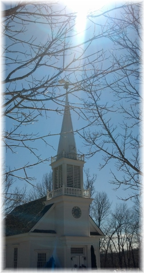 Sun shining on church steeple (Photo by Georgia)
