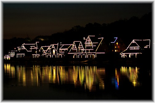 Philadelphia boat house row at night