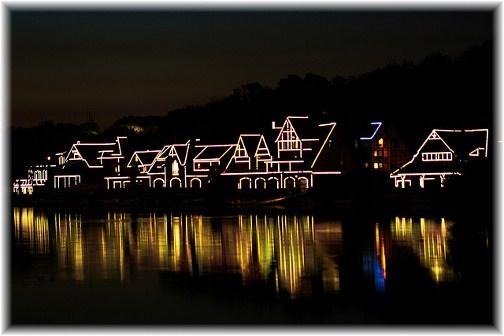 Philadelphia boat house row at night