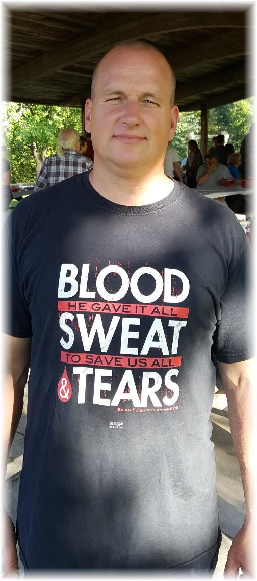 Alex wearing Blood, sweat, tears t-shirt 10/7/17