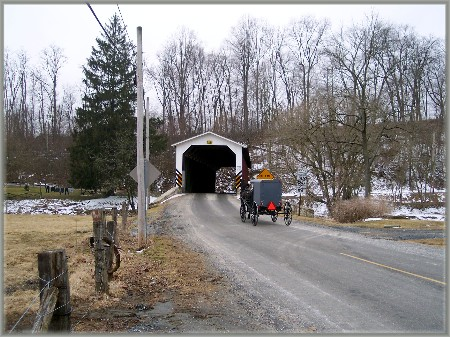 White Rock Covered bridge and Amish buggy, Lancaster County PA