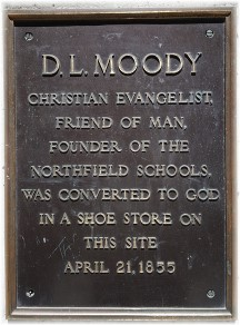 DL Moody plaque, Court Street, Boston, MA