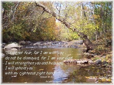 Photo of Conewago Creek with Scripture verse