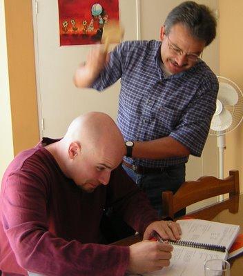 Photo of Doug getting Spanish language reminders!