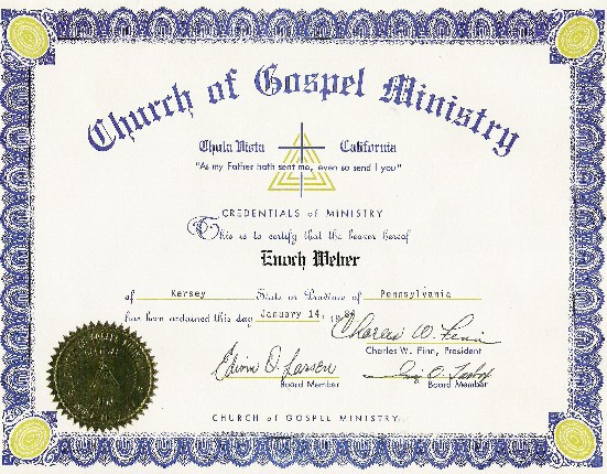 Enoch's ordination certficate