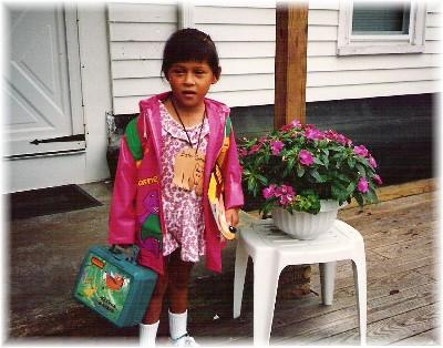 Ester's first day of kindergarten