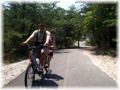 Riding bicycle built for two on Cape Henlopen DE