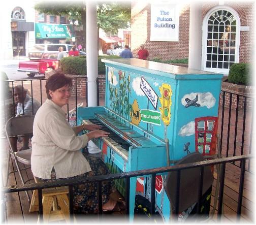 Brooksyne playing Lancaster city piano 7/7/11