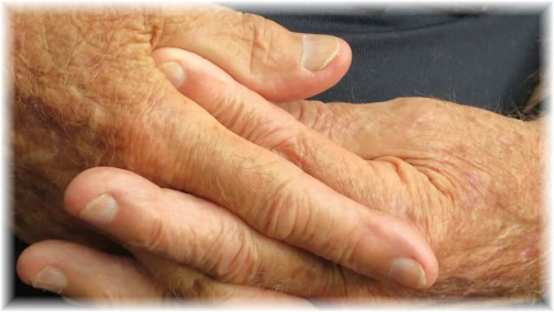Hands of older man