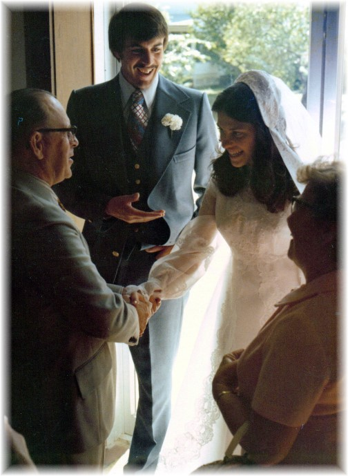 Joe and Pauline Harding at our wedding 5/8/76