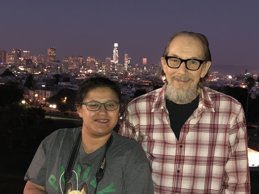 Ester with my brother Mike with san Francisco skyline 11/4/18