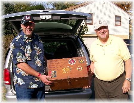 Returning boy scout trunk to Pat