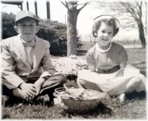 Stephen and his sister Genelle, Easter around 1965
