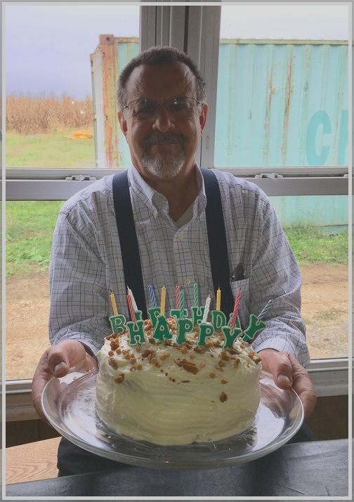 Stephen with birthday cake, Old Windmill Farm 10/14/18