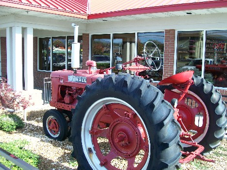 Farmall tractor at Red Rooster Pancake House in Pigeon Forge