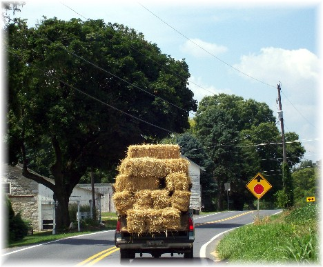 Pickup truck carrying hay Lancaster County PA