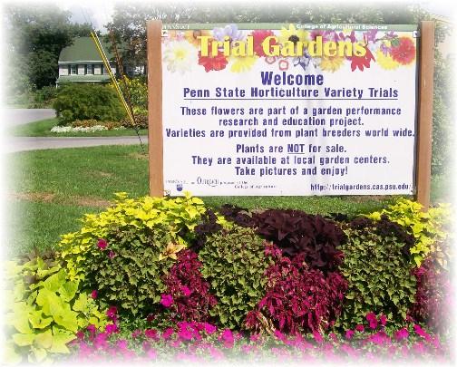 Penn State trial garden sign