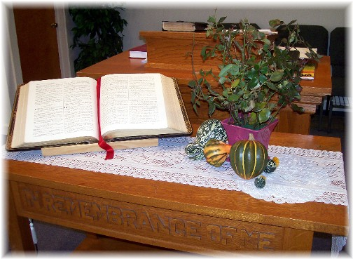 Flower arrangement on Communion Table