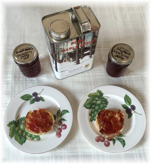 Gifts of gooseberry jelly and Maple syrup from Worralls 04/25/16