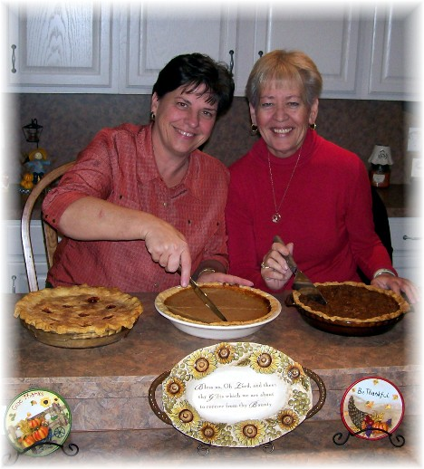 Brooksyne and Dawn with Thanksgiving pies 11/25/10