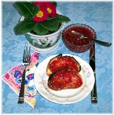Photo of toast with strwberry/rhubarb jam