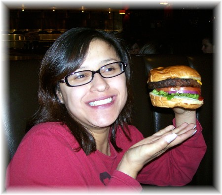 Ester at Weber Grill Restaurant with Weber classic burger 3/25/10