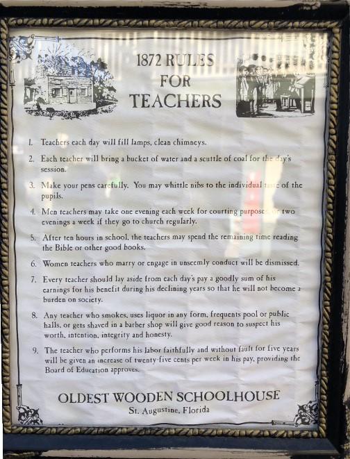 1872 rules for teachers