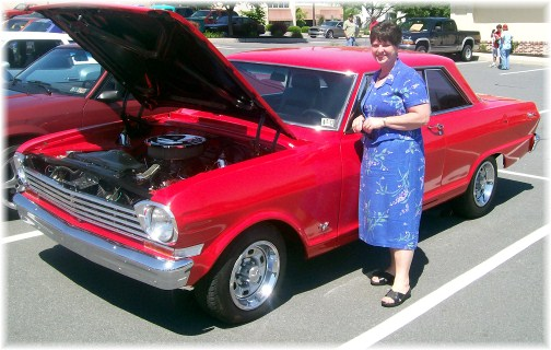 Brooksyne with antique car in Leola PA 5/20/12