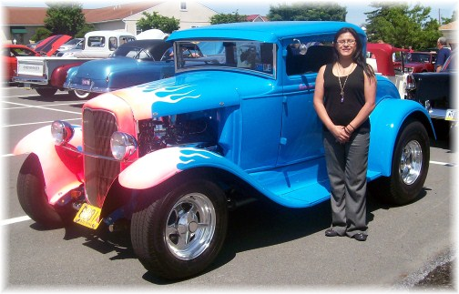 Ester with antique car in Leola PA 5/20/12