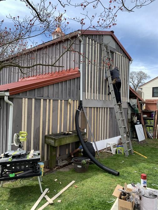 Boys working on back of barn 4/20/20