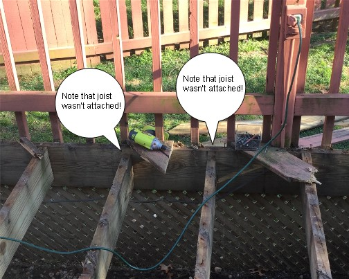 Deck replacement, unattached joists 4/16/16