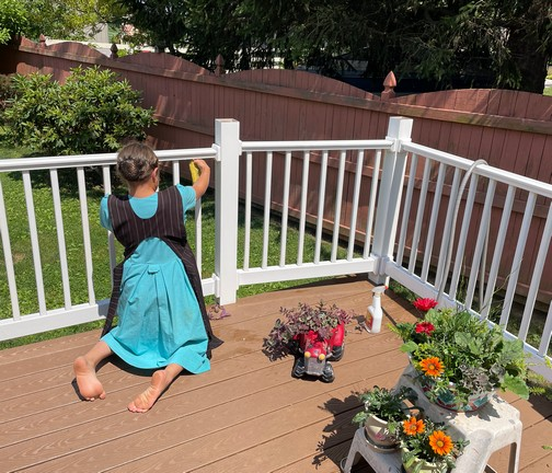 Lizzie cleaning deck railing