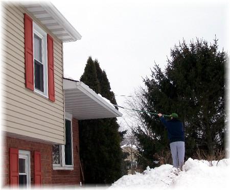 Raking snow off roof 2/15/10