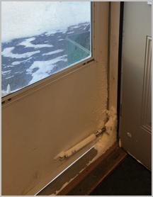 Snow blown in door 1/31/19