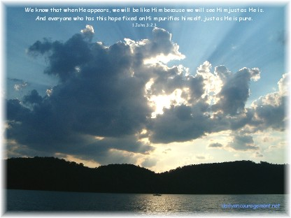 Photo of cloud over lake with Scripture
