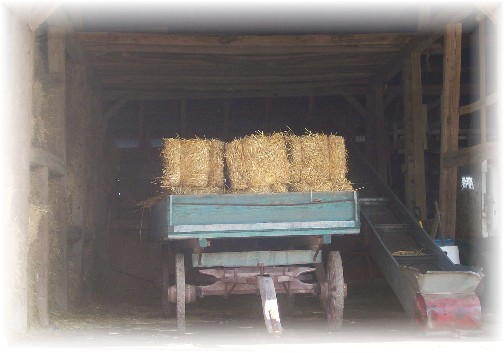 Loaded hay wagon in barn at the Northwest Lancaster County Antique Tractor Expo 8/13/11