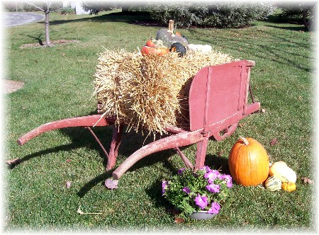 Decorative autumn cart